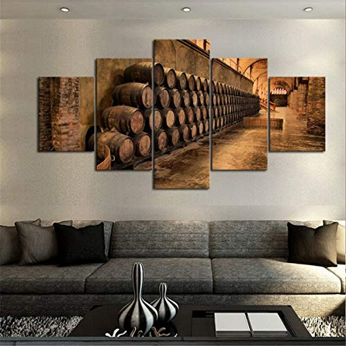 (JESC Wine Cellar Barrels Canvas Set, Multi Panel Print Decor, Wine Barrel Picture Art, Wine Enthusiast Decoration, Wine Lover Gift)