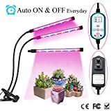 Cycle Timing Function Plant Grow Lights, 24W 360° Flexible Dual Automatically On/Off Timing Lamp with 8 Dimmable Levels & 4/8/12 Hours Time Setting for Indoor Greenhouse Gardening Plants (Dual-Head)