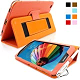 Snugg™ Samsung Galaxy Tab 3 8.0 Tablet Case - Smart Cover with Flip Stand & Lifetime Guarantee (Orange Leather) for Samsung Samsung Galaxy Tab 3 8.0