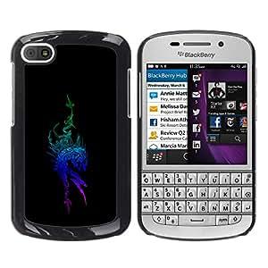 Tribal Blue Dragon - Metal de aluminio y de plástico duro Caja del teléfono - Negro BlackBerry Q10