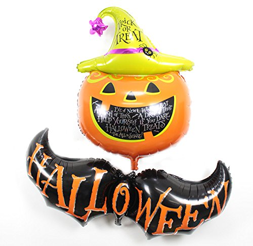 Cute Halloween Pumpkins Ideas (Large Size Halloween Bat and Pumpkin Aluminum Foil Membrane Balloon)