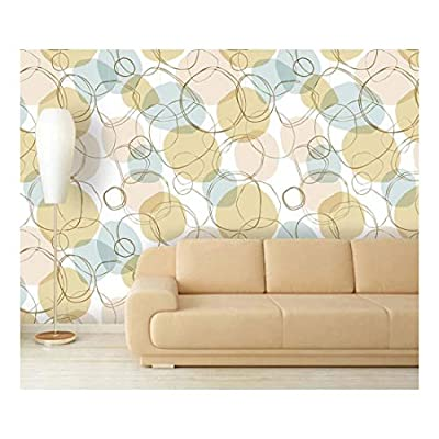 Stunning Technique, Crafted to Perfection, Large Wall Mural Bright Seamless Linear Pattern with Hand Drown Circles Vinyl Wallpaper Removable Decorating