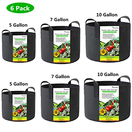 SYOURSELF 6 Pack 5/7 / 10 Galllon Grow Bags, Aeration Fabric Pots with Handles-400GSM Non-Woven Durable Thickened Plant Containers for Nursery Garden Home Vegetable, Fruit, Tree+6 Waterproof Labels