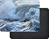 Rikki Knight Surf Waves in Stormy Ocean Design Faux Leather Rectangular Mouse Pad