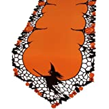 Xia Home Fashions Witch Embroidered Cutwork Halloween Table Runner, 15 by 70""