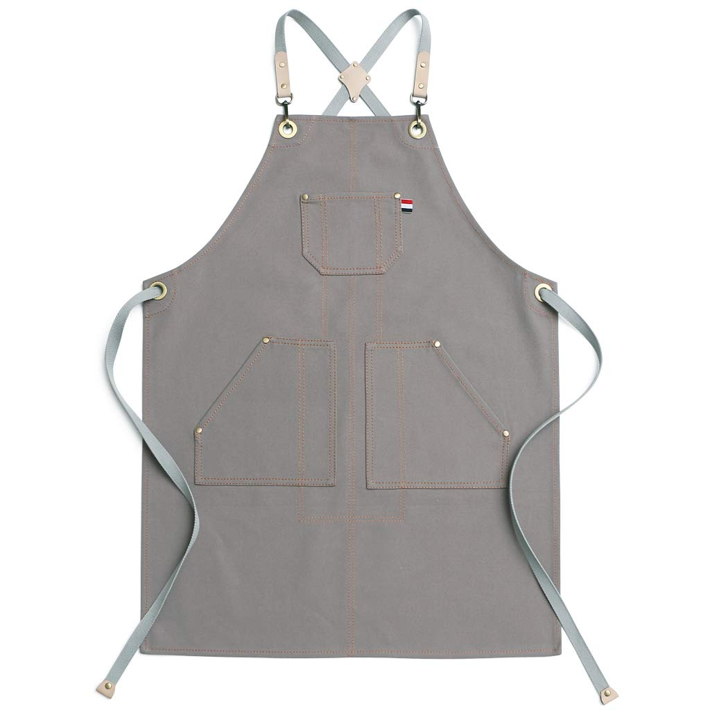 Cream-Coloured XXXL Jeanerlor 15oz Waxed Canvas Work Apron with Pockets Water-Resistant Tool Aprons for Men Cross Back Straps Adjustable L