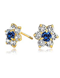 Bling Jewelry 14K Gold Kids Simulated Sapphire CZ Screw Back Flower Studs