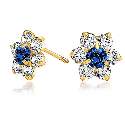 Tiny Royal Blue CZ Flower Stud Earrings For Women For Teen Cubic Zirconia Simulated Sapphire 14K Real Gold Screwback