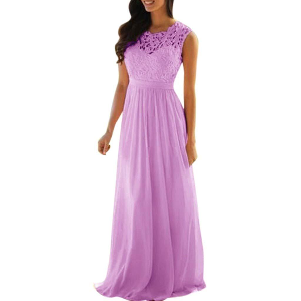 Pervobs Women Cute Loose Lace Applique Elegant Sleeveless Coral Bridesmaid Dresses Wedding Guest Long Dress Vestido(US: 16, Purple)