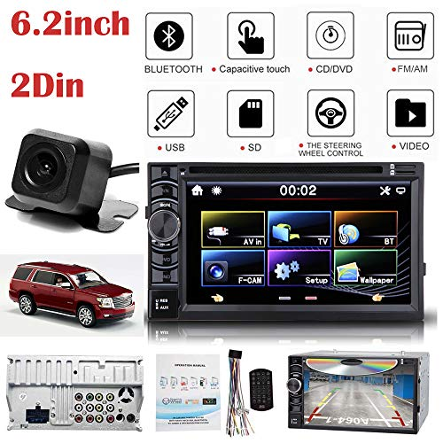 For Chevrolet Monte Carlo Tahoe (2007-2012) 6.2inch TouchScreen 2Din Car Stereo AM/FM Radio Bluetooth Hands-free MirrorLink Touchscreen TV Tuner CD DVD MP3 Player with Rearing ()