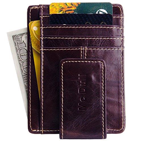Money Clip Wallet- Front Pocket Wallet Mens Genuine Leather Magnetic Slim Minimalist Wallet RFID Blocking (Dark Brown)