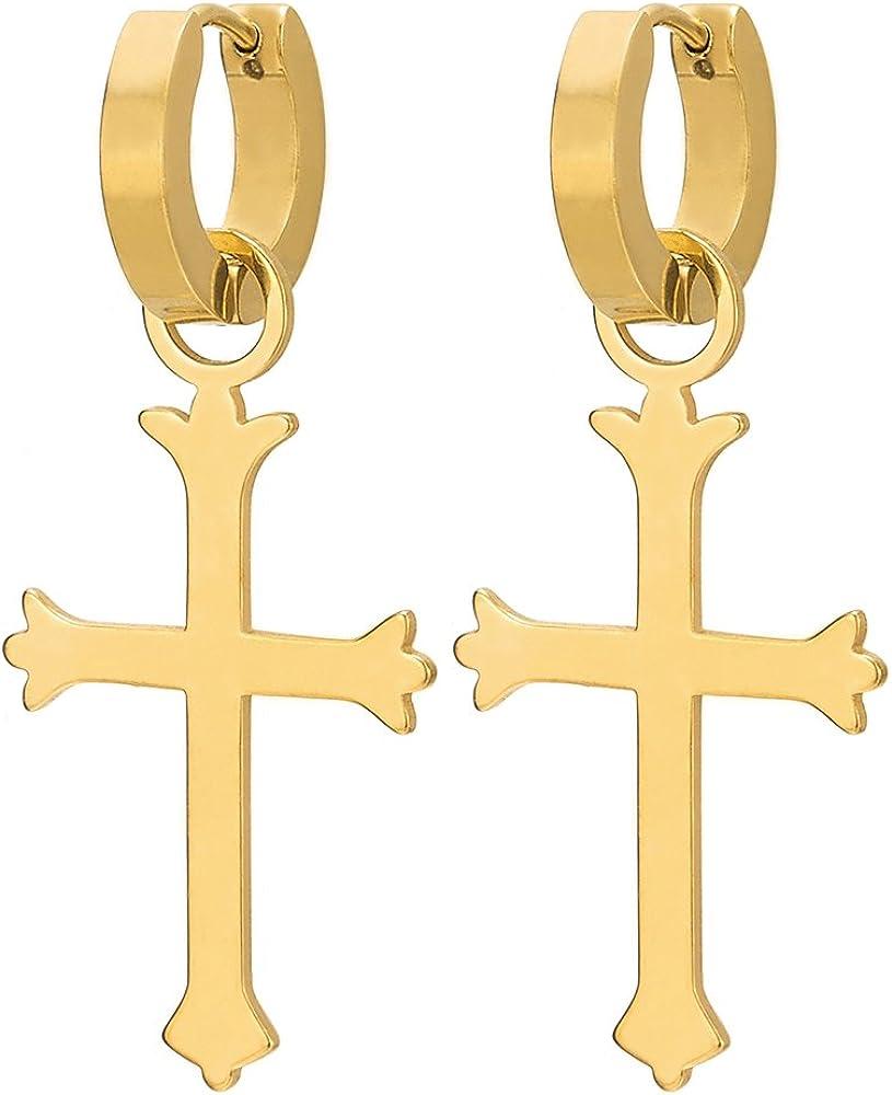 pour Homme Femme 1 paire Acier Inoxydable Cr/éoles Couleur dor Croix Anneau Boucle doreille Charni/ère