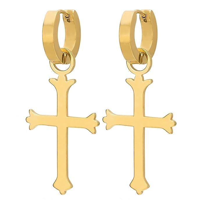 Edelstahl Huggie Ohr Manschette Ohrringe Paar Vintage Creolen f/ür Herren Damen mit Kreuz
