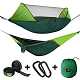 Unique Sun-proof Design Green cloth on both end have effective shading that blocks dazzling light for your head and eyes. Extremely Small Hole Mosquito Net, Say Goodbye to Mosquitoes The pop up hammock bug net mesh and easily-close zipper protect you...