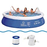 Jilong Marin Blue Round Pool Set Diameter 360 x 76 cm with Pool Pump Filter Cartridge Quick-Up Swimming Pool Fast Set Children and Families Swimming Pool for Garden and Terrace