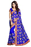 Mirchi Fashion Women's Georgette Resham Wedding Saree Free Size Royal Blue