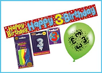 BALLOONS BADGE AND NUMBER CANDLE BOYS 2ND BIRTHDAY PARTY PACK BANNER