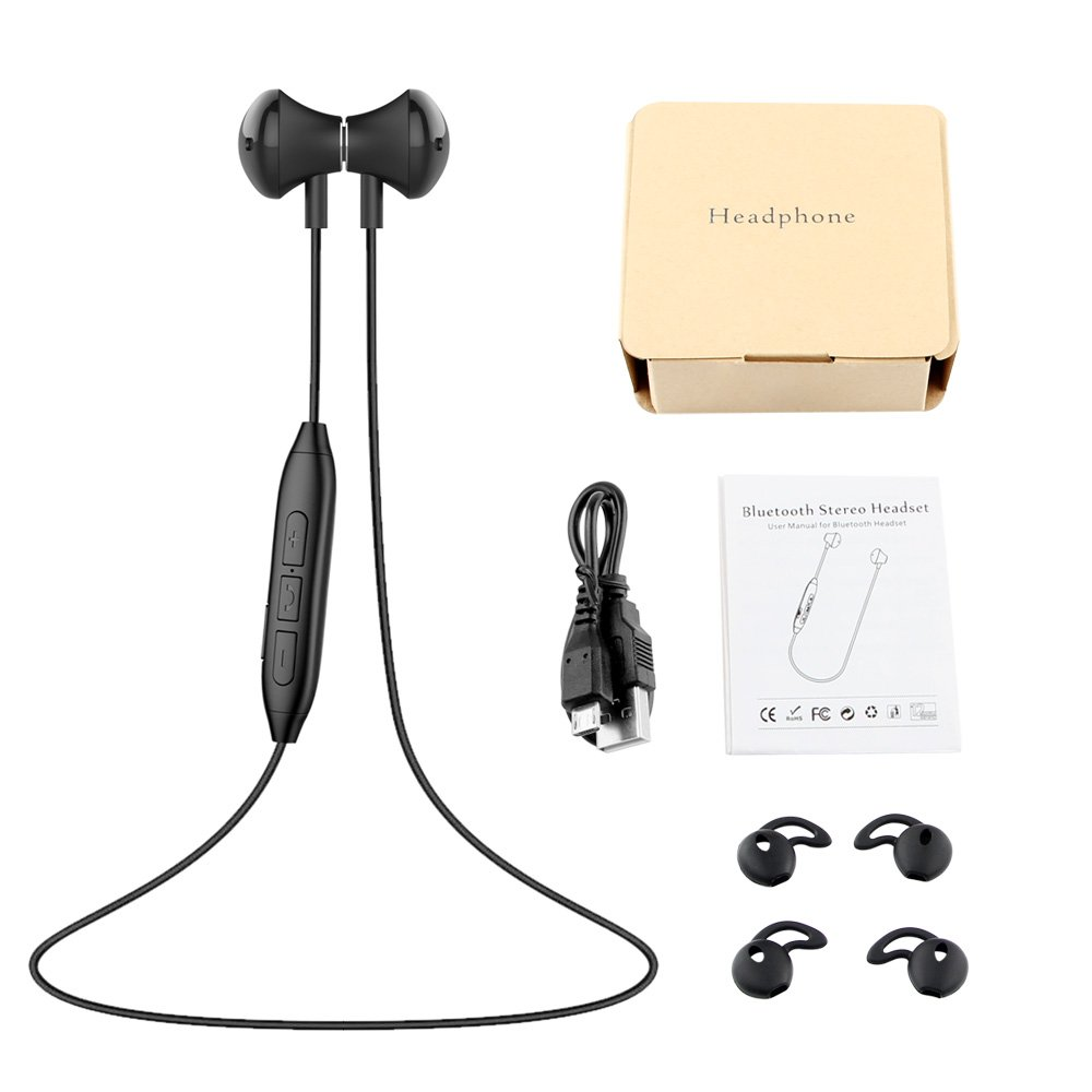 Bluetooth Headphones, Wireless Earphones HD Stereo Noise Canceling Earbuds Sweatproof Headset with Mic(Black)