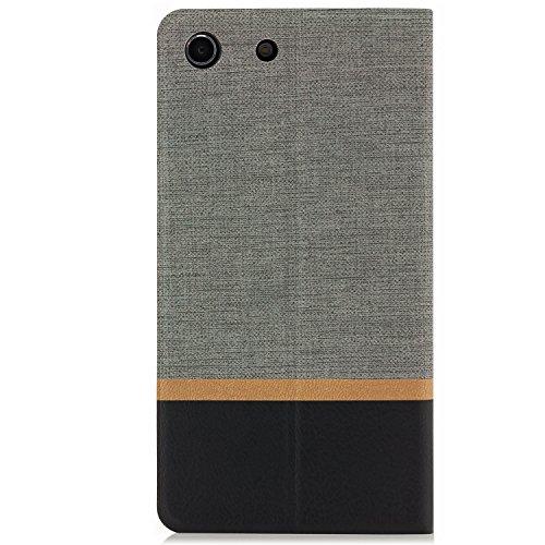 Funda Sony Xperia M5 [zanasta Designs] Cubierta Carcasa Flip Case Tapa Delantera con Billetera para Tarjetas Protectora de Alta Calidad, Cierre Abatible Gris Gris