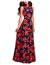 BIUBIU Women's Elegant Sleeveless Floral Print Party Maxi Dress