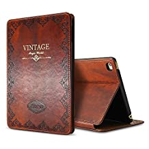 iPad Air 2 Case Cover,Modern Vintage Book Style Case for Ipad Air 2,Premium PU Leather Smart Case Auto Sleep Wake Slim Fit Multi Angle Stand,Brown
