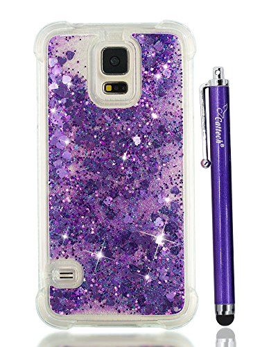 Samsung Glitter - S5 Case for Women, Cattech Glitter Liquid Sparkle Floating Luxury Bling Quicksand [Drop Protection] [Non-slip Grip] Slim Clear TPU Protective Phone Cover Case for Samsung Galaxy S 5 + Stylus (Purple)