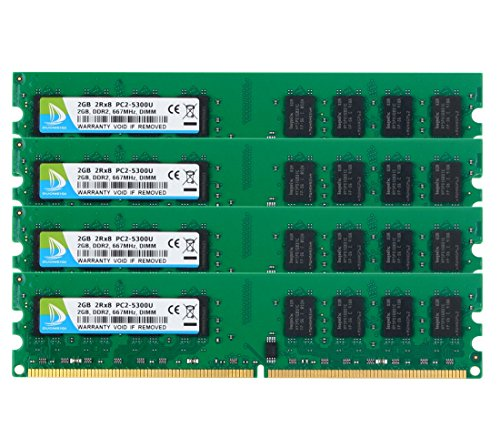 DUOMEIQI DDR2 pc2-5300,DDR2 Ram 8gb Kit(4X 2GB) Ram Desktop DDR2-667 Udimm DDR2 Ram Desktop Memory 240pin CL5 1.8v Unbuffered Non-ECC Dual Channel Desktop Memory RAM Chips