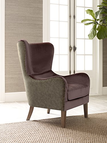 Elle Decor UPH100085B Wingback Chair, Plum/Gray (Velvet Wingback Chair Purple)