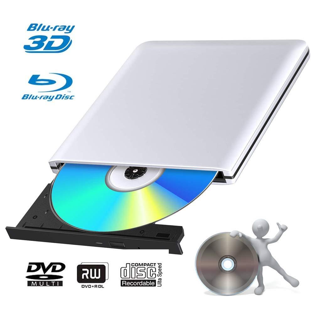 External 3D Blu Ray DVD Drive Burner, Portable Ultra Slim USB 3.0 Blu Ray BD CD DVD Burner Player Writer Reader Disk for Mac OS, Windows 7/8.1/10/Linxus, Laptop, PC by MOGLOR