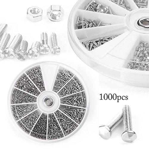 Beautylady 1000pcs 12 Kinds Small Screw Nuts Assortment Kit M1/M1.2/M1.4/M1.6 from Beautylady