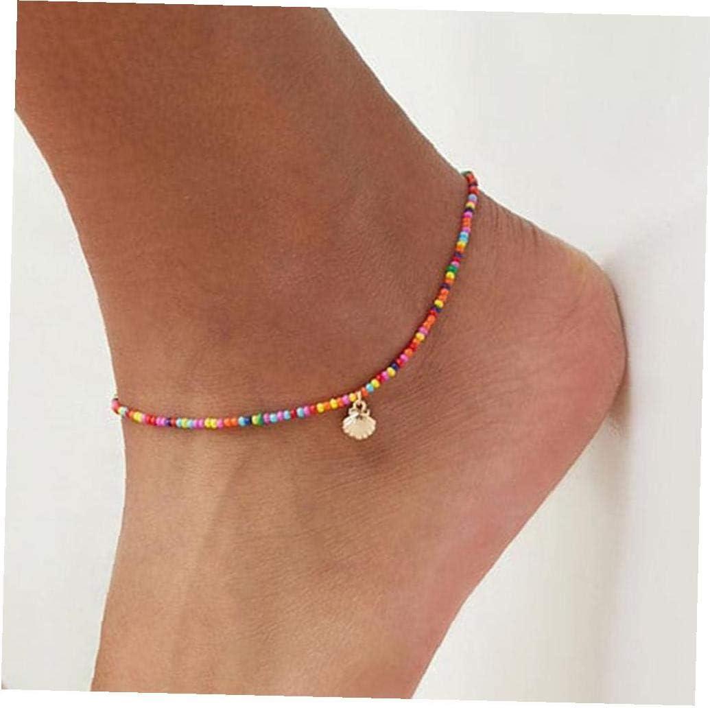Perles color/ées M/étal Shell pour les femmes Bracelet de cheville sur la couleur jambe cheville cha/îne Bijoux pied