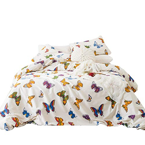 YuHeGuoJi 3 Pieces Duvet Cover Set 100% Cotton Queen Size Colorful Butterfly Pattern Bedding Set 1 Animal Print Duvet Cover with Zipper Ties 2 Pillowcases Luxury Quality Soft Comfortable ()