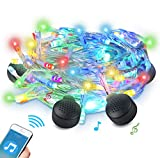 LED String Light with 4 Bluetooth Speakers, ABLEGRID 70 LED Decorative String Lights 33FT Bluetooth String Speakers Decoration for Christmas, Party, Garden and Home for Indoor or Outdoor