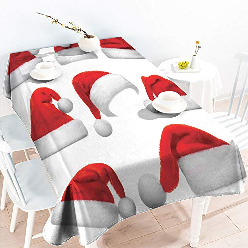 (ScottDecor Spillproof Tablecloth Spillproof Table Set of Classical Santa Claus Hats Xmas New Year Celebration Tradition Party Theme W 50