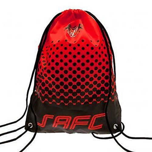 Sunderland AFC Official Fade Gym Bag (18 inches x 13 inches) (Red/Black) (Has Drawstring Main Compartment)