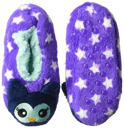 Jacques Moret Big Girls' 3D Soft Cozy Critter Slipper Non-Slip Grippers, Purple Owl, Sock Size M/L fits Shoe Size 13-4