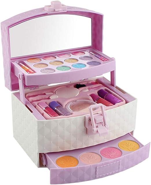 F-blue Cosméticos para niños Traje de Juguete niños Que Hagan de Maquillaje Juego Soluble en Agua cosmética del Kit del Maquillaje Caso niñas: Amazon.es: Hogar