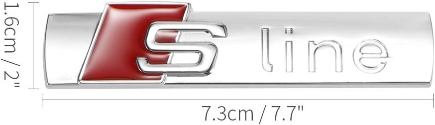 ONEVER Metal Car Door Coda Distintivo dellemblema Car Styling S-Line Adesivi per Auto per Audi A2 A3 A4 A6 A6L A8 A7 Q3 Q5 Q7 Q3 RS5 RS7 Argento Brillante 1PC