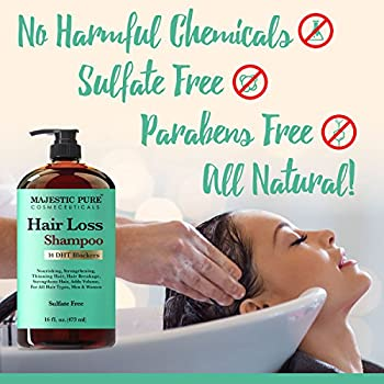 Majestic Pure Hair Loss Shampoo, Offers Natural Ingredient Based Effective Solution, Add Volume & Strengthen Hair, Sulfate Free, 14 Dht Blockers, For Men & Women - 16 Fl Oz 1