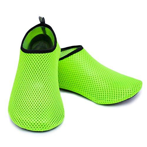 Water Sports Shoes Barefoot Quick-Dry Aqua Beach Swim Exercise Yoga Socks Slip-On for Men and Women Green Web 42/43