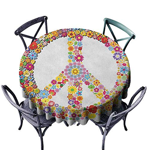 - Mannwarehouse Groovy Oil-Proof and Leak-Proof Tablecloth Floral Peace Sign Summer Spring Blooms Love Happiness Themed Illustration Print Great for Buffet Table D39 Multicolor