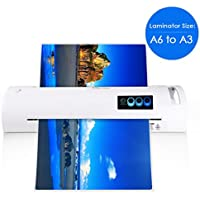13 Thermal Laminator for A6/A4/A3, Laminating Machine with Two Roller System and Jam-Release Switch, Automatic Shut Off Function, Fast Warm-up, for Home, Office and School (Laminator A3 - White)