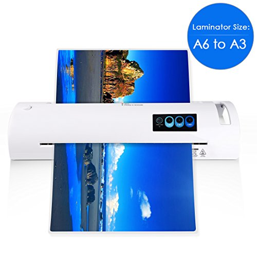 """13"""" Thermal Laminator for A6/A4/A3, Laminating Machine with Two Roller System and Jam-Release Switch, Automatic Shut off Function, Fast Warm-up, for Home, Office and School (Laminator A3 - white)"""