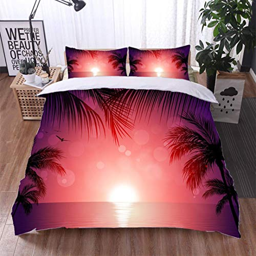VROSELV-HOME European Style Print Bed Set,Tropical Sunset,Soft,Breathable,Hypoallergenic,100% Cotton Bedspread/Quilt Set,3 Pieces