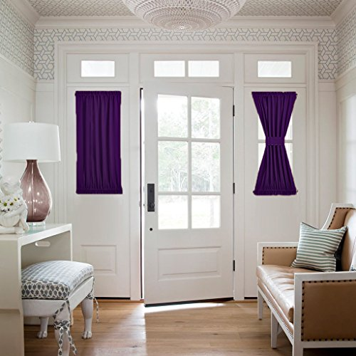 NICETOWN Blackout Door Curtain for Privacy - Energy Efficient Patio Door/Sliding/Glass Door Drape Panel, Side Lights Front Door Curtain Shade (One Piece, W25 x L40-Inch, Royal Purple)