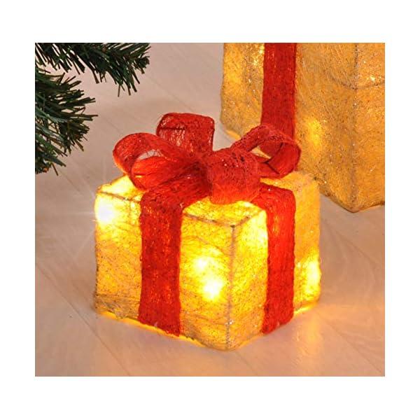 Bambelaa! Led Decorazione Light Gift Boxes - Set di 3 incl. Funzione Timer - Decorazione natalizia Decorazione natalizia Decorazione di Natale Illuminazione (Giallo) 6 spesavip