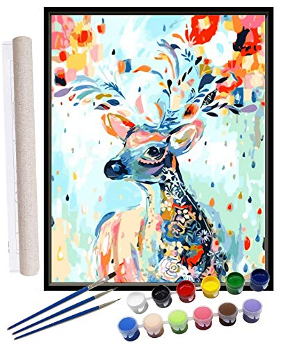 Paint by Numbers for Adults Beginners Kids DIY Acrylic Oil Painting by Number Kits On Canvas Deer Home Decoration Christmas Wall Arts Craft Paintwork Drawing 16X20inch with Brushes