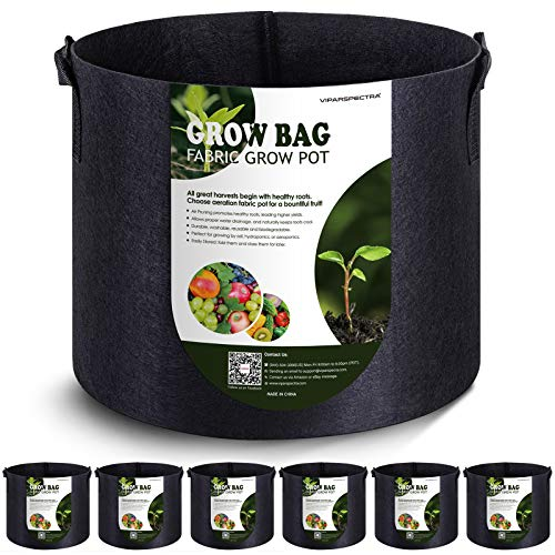 VIPARSPECTRA 6-Pack 5 Gallon Grow Bags Thickened Nonwoven Aeration Fabric Pots Container with Heavy Duty Durable Handles…