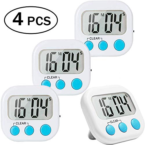 4 Pack Digital Kitchen Timer Big Digits Loud Alarm Magnetic Backing Stand ON/OFF Switch for Cooking Game Exercise Office White ()