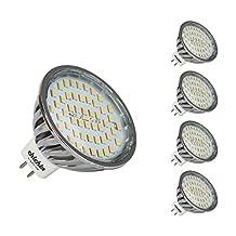 Mr16 LED Reflector Light Bulbs 5 Watts 12 volt BI-Pin Gu5.3 Base 5 Pack 2700k Warm White